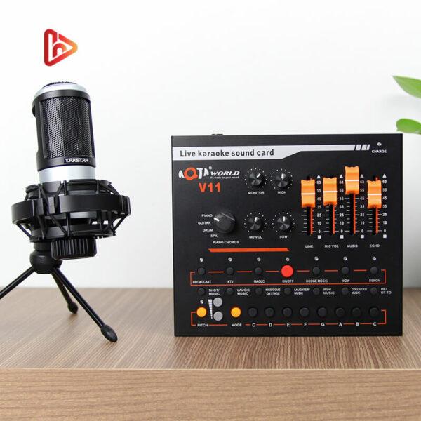 combo micro takstar pc-k320 + sound card v11 - thu âm hát, livestream - hình 01