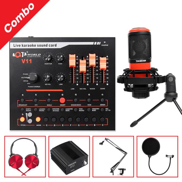 combo micro takstar pc-k320 + sound card v11 - thu âm hát, livestream