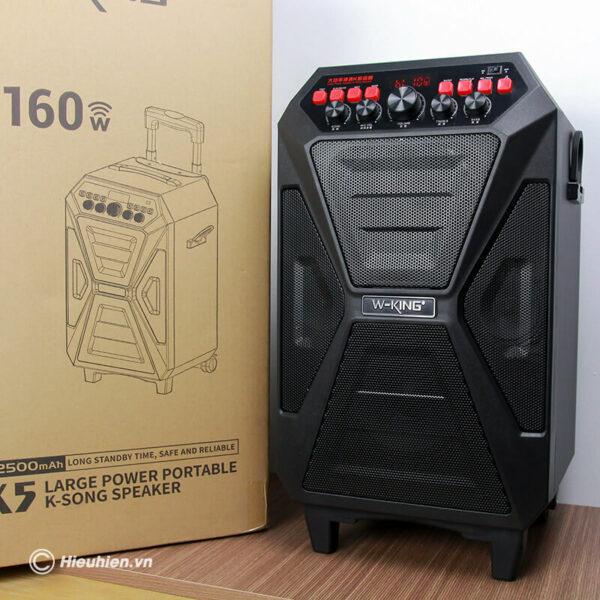 loa kéo hát karaoke di động w-king k5 công suất 160w, tặng kèm 2 micro không dây - hình 03