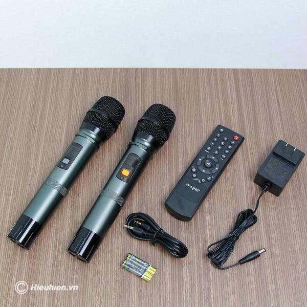 loa kéo hát karaoke di động w-king k5 công suất 160w, tặng kèm 2 micro không dây - hình 07