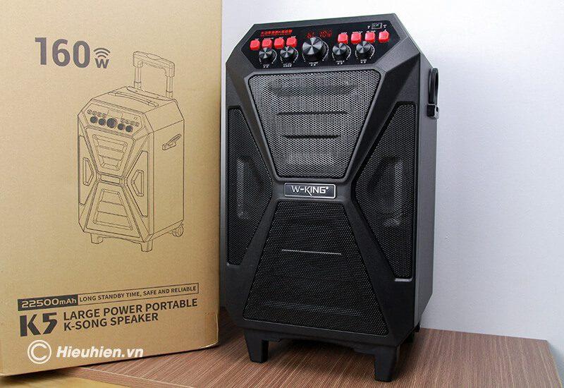 loa kéo hát karaoke di động w-king k5 công suất 160w, tặng kèm 2 micro không dây - hình 09