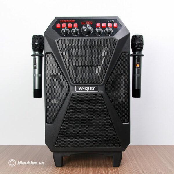 loa kéo hát karaoke di động w-king k5 công suất 160w, tặng kèm 2 micro không dây