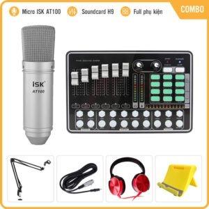 Combo Micro ISK AT100 và Soundcard MKAI H9 – Thu âm hát live stream, karaoke giá rẻ