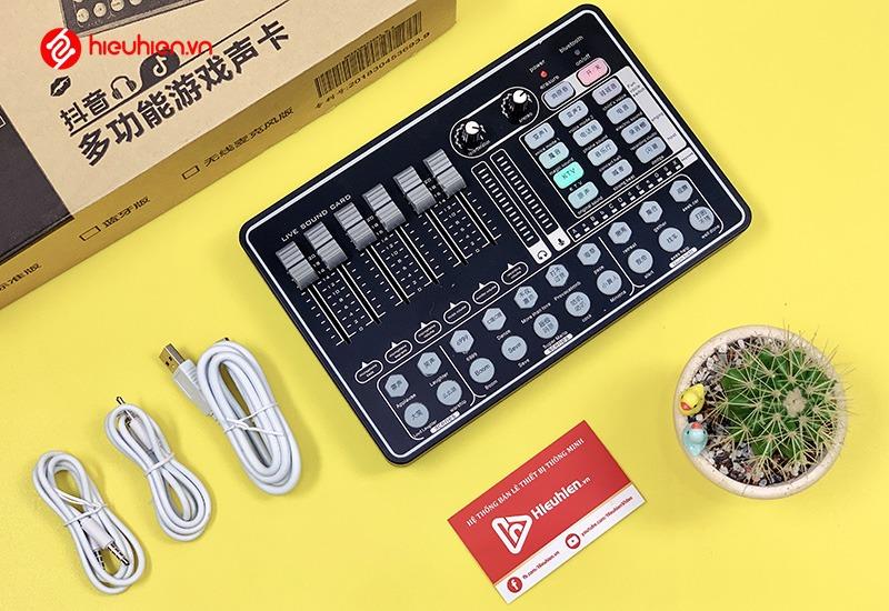 Sound card karaoke live stream H9 - Tích hợp bluetooth, auto-tune, pin sạc