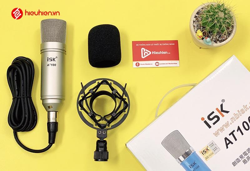micro thu âm isk at100 - mic hát karaoke, hát live stream - mặt trước