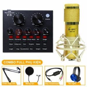 Combo Micro thu âm AMI BM 900 + Sound Card V8 hát karaoke, hát live stream. Mua trọn bộ mic thu âm tại nhà giá rẻ ✅ Chính hãng ✅ Giao hàng toàn quốc.