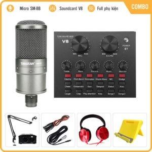 Combo Micro Takstar SM-8B + Sound Card V8 – Thu âm hát live stream, karaoke giá rẻ