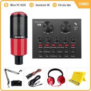 Combo Micro Takstar PC-K320 + Sound Card V8 – Thu âm hát live stream, karaoke chuyên nghiệp