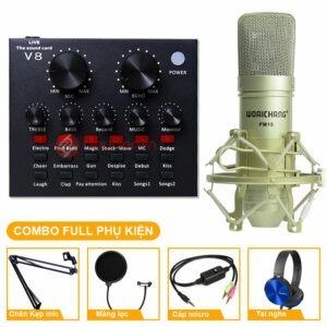 Combo Micro Woaichang PM10 + Sound Card V8 - Thu âm hát live stream, karaoke giá rẻ