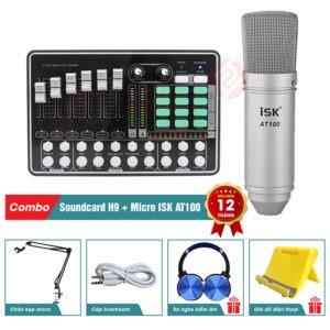 combo micro isk at100 và sound card mkai h9 - thu âm hát live stream, karaoke giá rẻ