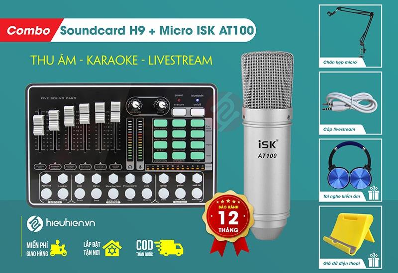 combo micro thu âm isk at100 và sound card mkai h9 - thu âm hát live stream, karaoke giá rẻ