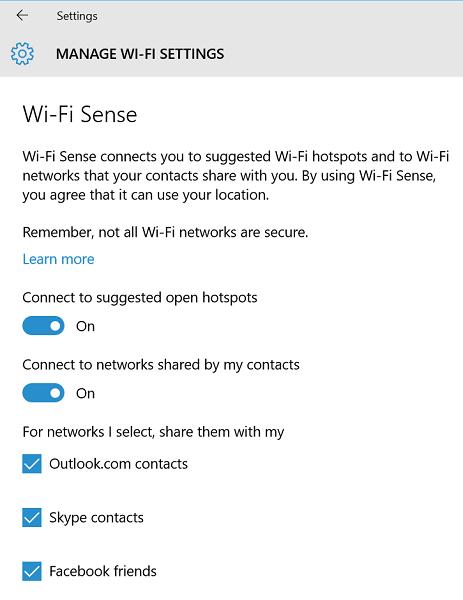 tat tu dong chia se mat khau wi-fi tren windows 10 - wi-fi sense