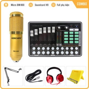 Combo Micro Woaichang BM900 và Soundcard MKAI H9 – Thu âm hát live stream, karaoke giá rẻ