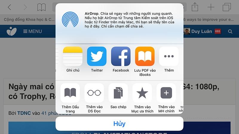 cach in tai lieu hoac trang web thanh file pdf cho he dieu hanh iOS 9