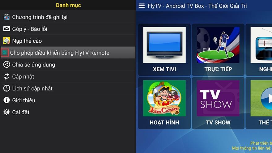 cho phep dieu khien ung dung flytv android tv box bang flytv remote