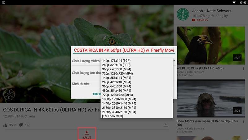 cach xem video youtube 1080p va youtube 1440p tren android tv box: tai video youtube
