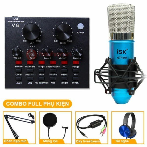 combo micro isk at100 + sound card v8 - thu âm hát live stream, karaoke giá rẻ