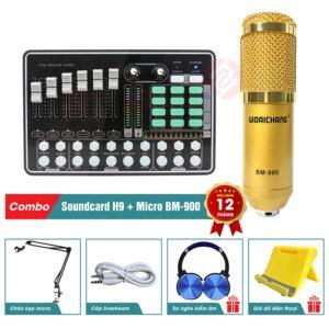 combo micro woaichang bm900 và sound card mkai h9 - thu âm hát live stream, karaoke giá rẻ