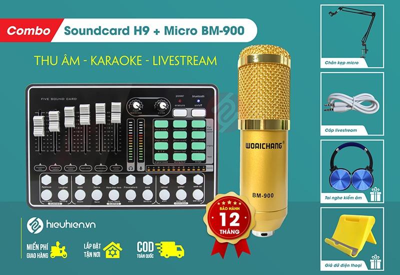 combo micro thu âm woaichang bm900 và soundcard mkai h9- thu âm hát live stream, karaoke giá rẻ