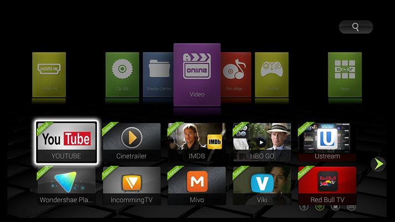 zidoo x9 android tv box: bieu tuong ung dung trong tung muc lon va de hieu