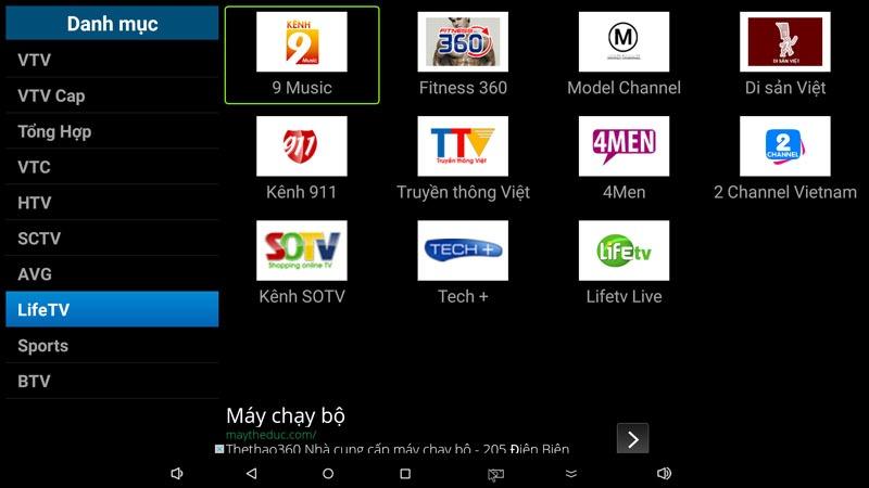 flytv ung dung xem truyen hinh tivi online mien phi cho android tv box flytvbox - nhom kenh lifetv