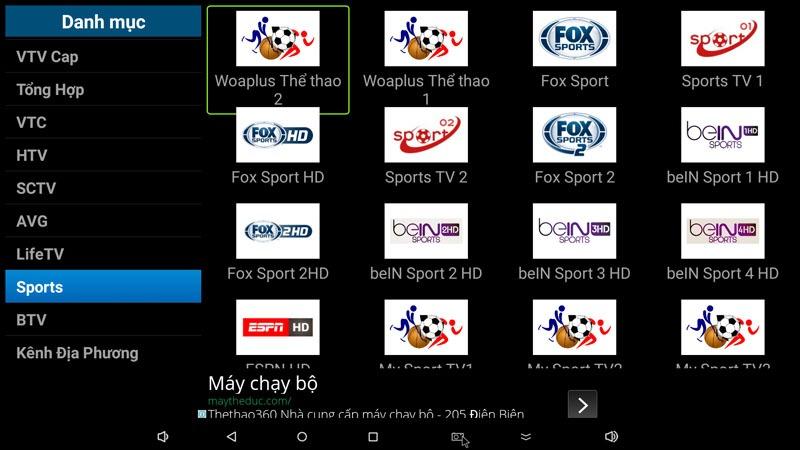 flytv ung dung xem truyen hinh tivi online mien phi cho android tv box flytvbox - nhom kenh sports