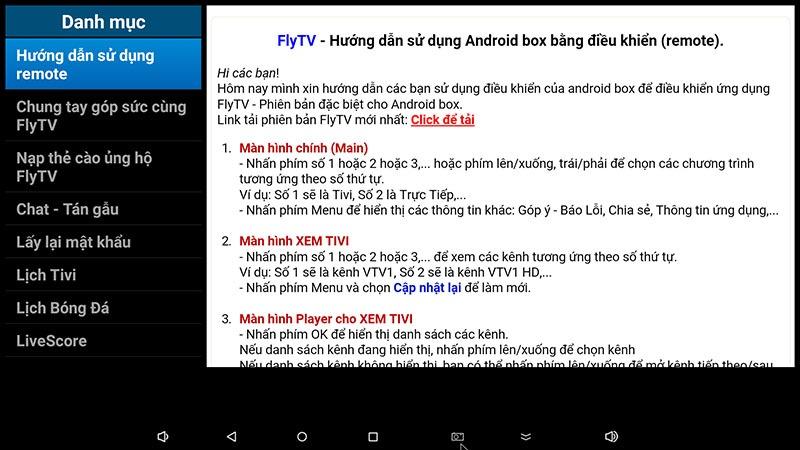 flytv android tv box ung dung xem truyen hinh tivi online mien phi flytvbox - huong dan su dung remote