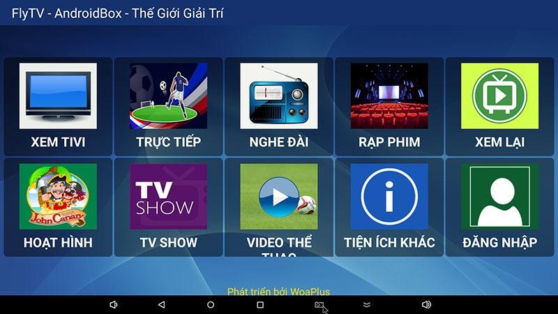FlyTV ứng dụng xem truyền hình miễn phí 200 kênh trên Android TV Box