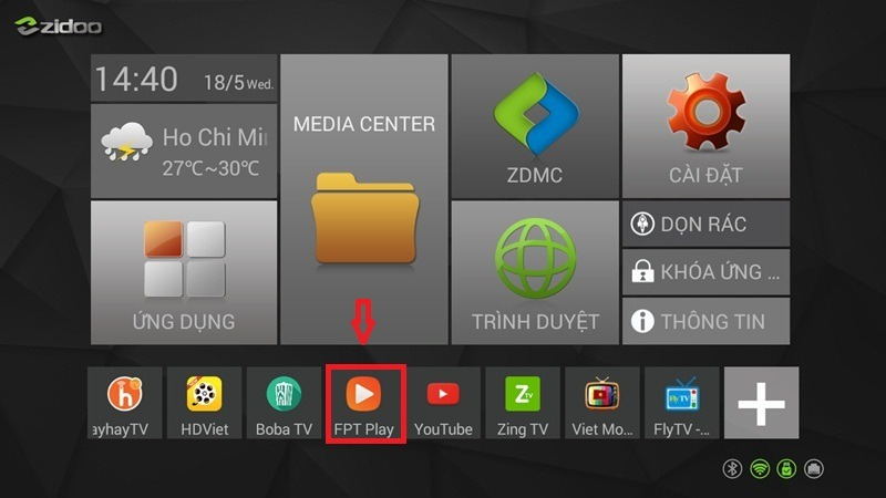ung dung fpt play cho android tv box tren giao dien zidoo x1
