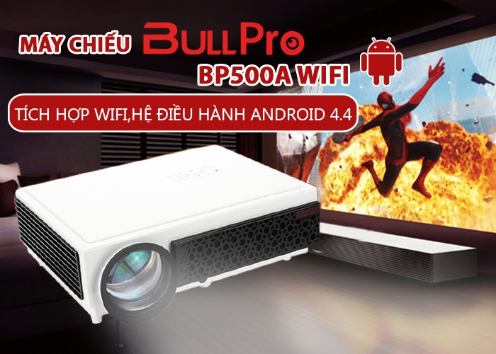 may chieu android bullpro bp500a tich hop wifi, su dung he dieu hanh android 4.4