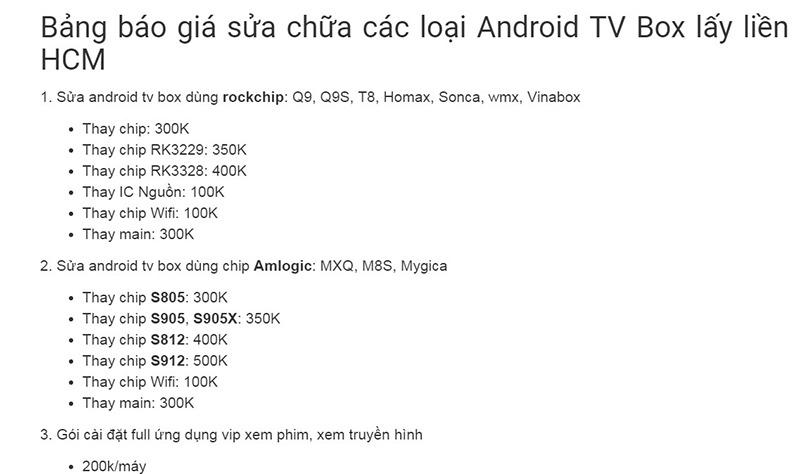 bảng giá sửa chữa android tv box giá rẻ tại tp hcm