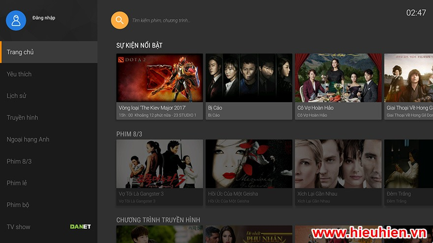 huong dan cap nhat ung dung fpt play apk phien ban moi nhat cho android tv box - giao dien