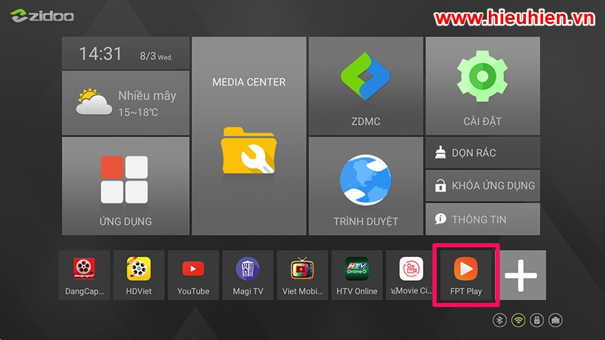 cach cap nhat ung dung fpt play apk phien ban moi nhat cho android tv box - zidoo x6 pro