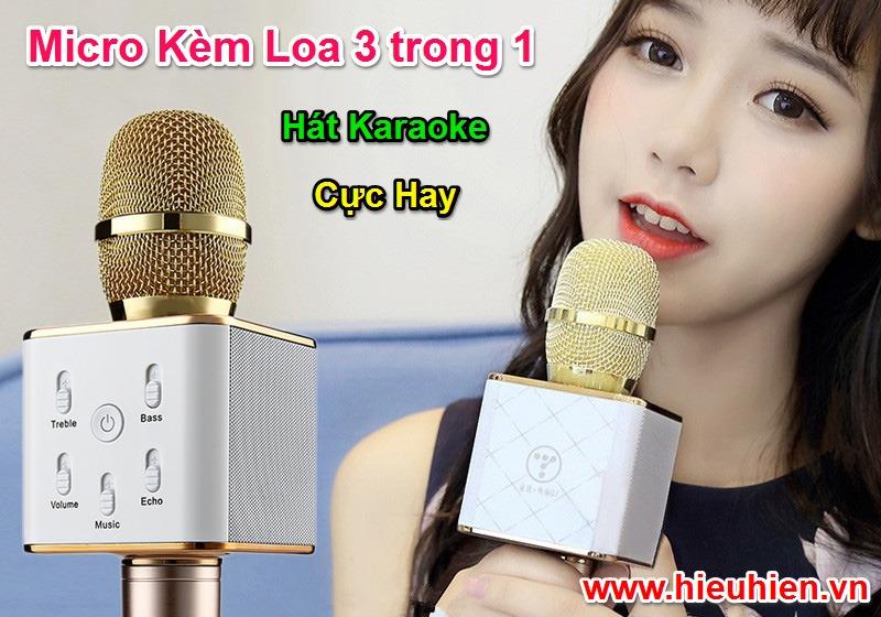 Micro Kèm Loa 3 trong 1 Hát Karaoke Bluetooth Cực Hay
