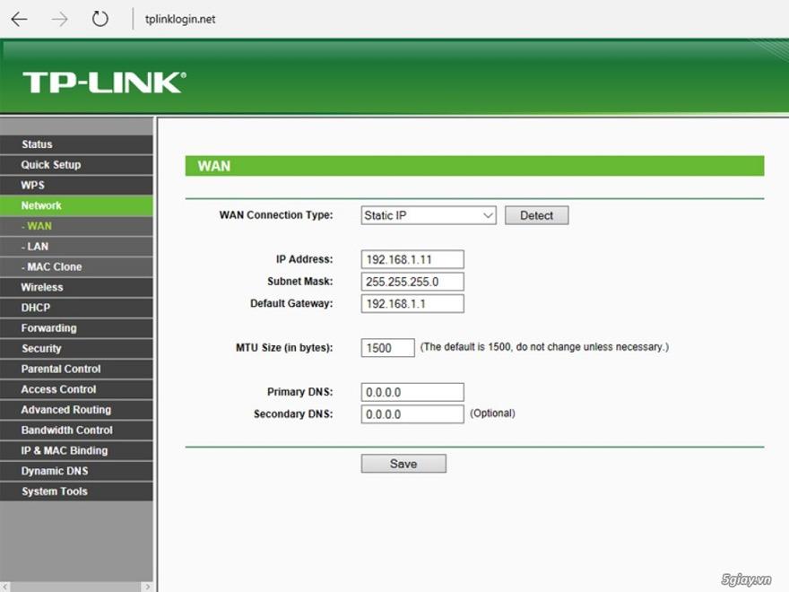 mo hop tp-link tl-wr841hp: muc network cung cap tinh nang chinh ip wan va lan cho router