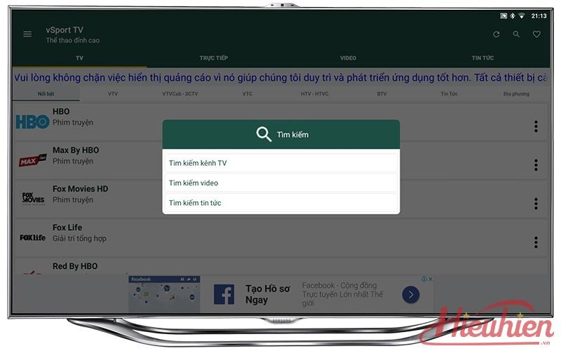 vsport tv xem truyen hinh, bong da truc tuyen mien phi tren android tv box 10