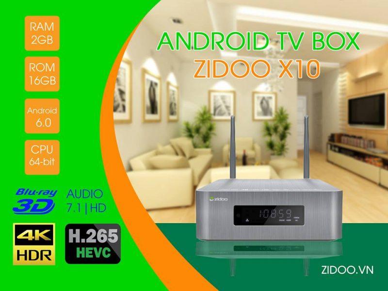 """ZIDOO X10 Flagship TV Box 2017 với khe gắn ổ cứng 3.5"""" SATA HDD, chip Realtek RTD1295"""