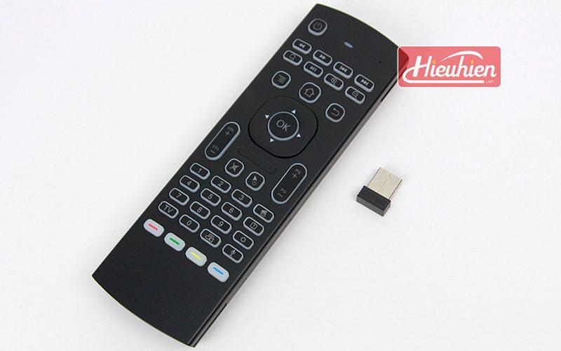 bàn phím chuột bay km800 pro có mic voice search tìm kiếm bằng giọng nói cho android tv box - mặt trước