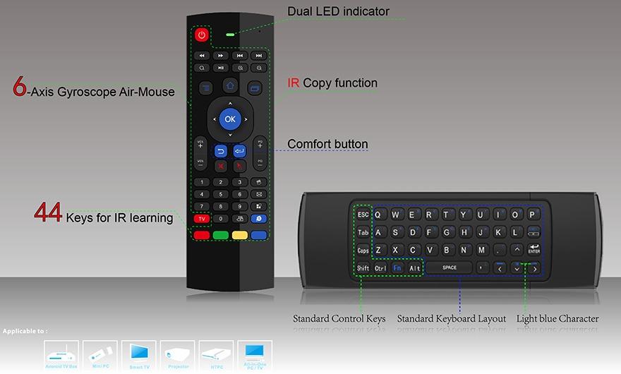 bàn phím chuột bay km900 cho android tv box chính hãng, giá tốt - hình 02