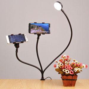 Bộ giá đỡ điện thoại Livestream có đèn LED LB-02, chân kẹp bàn 0