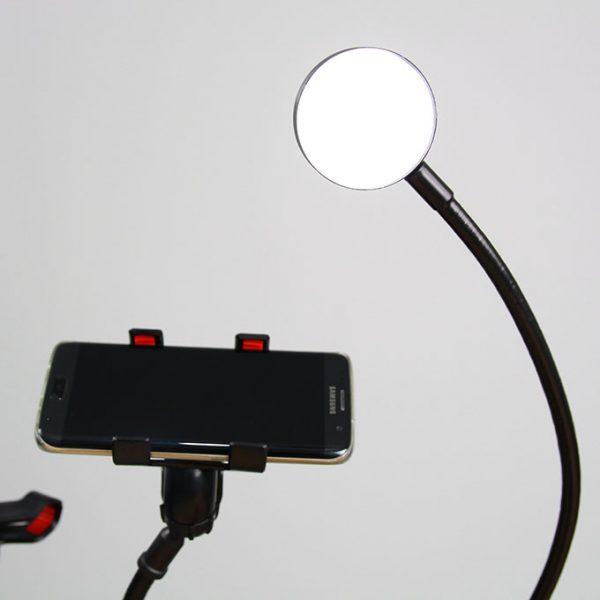Bộ giá đỡ điện thoại Livestream có đèn LED LB-02, chân kẹp bàn 02