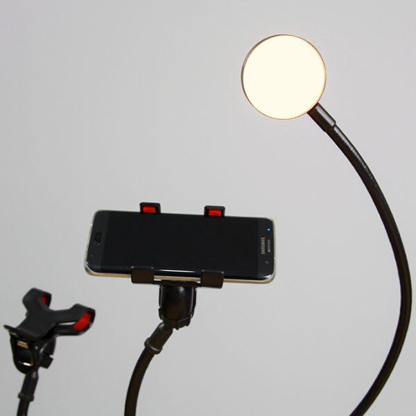 Bộ giá đỡ điện thoại Livestream có đèn LED LB-02, chân kẹp bàn 03