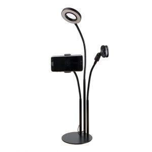 Bộ giá đỡ điện thoại, Micro thu âm Livestream có đèn LED LB-03 0