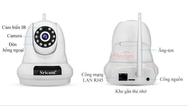 camera ip sricam sp018 full hd 1080p tặng thẻ nhớ - mặt sau