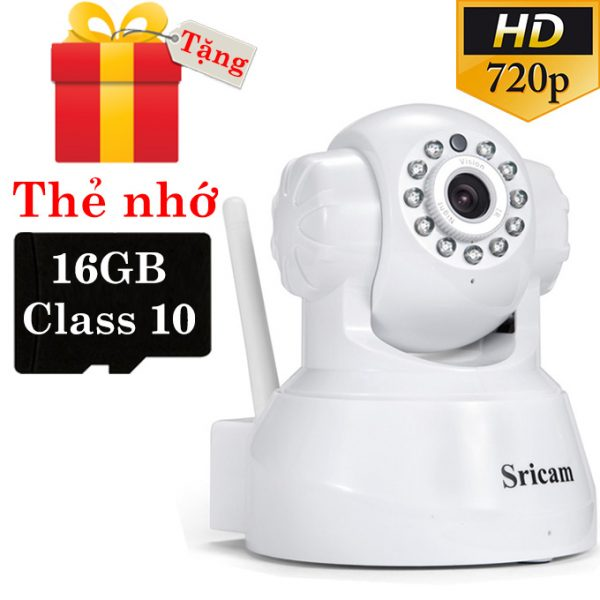 sricam sp012 - camera ip wifi thông minh, hỗ trợ thẻ nhớ 128gb - tặng thẻ nhớ