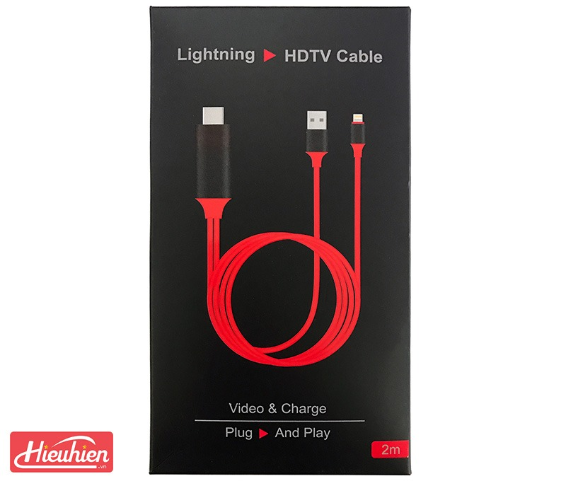 cap hdmi cho iphone, ipad ket noi voi tivi, may chieu - lightning to hdtv cable 10