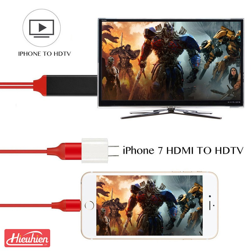 cap hdmi cho iphone, ipad ket noi voi tivi, may chieu - lightning to hdtv cable 08