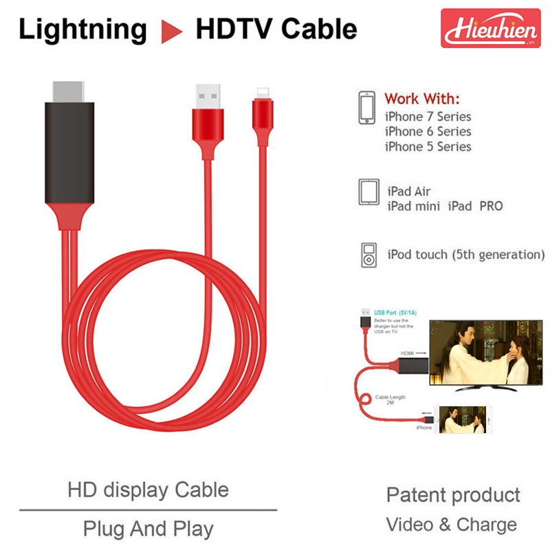 cap hdmi cho iphone, ipad ket noi voi tivi, may chieu - lightning to hdtv cable