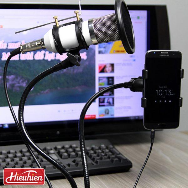 Chân đế micro kẹp bàn iKAKU, Giá đỡ micro thu âm và điện thoại 01