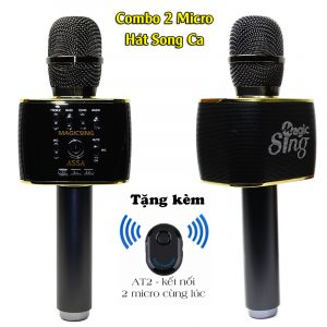Combo Hát Song Ca 2 Micro Magic Sing MP30 + Bluetooth AT2